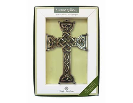 Royal Tara Bronze Plated Wall Plaque With Celtic Love Cross Design