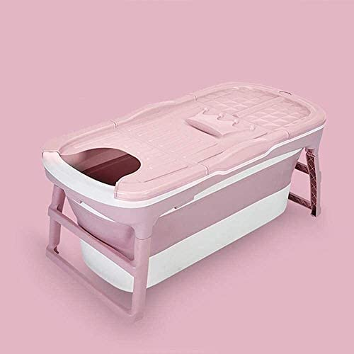特大折り畳み式の浴槽、大人浴槽、家庭用プラスチック浴槽は子供の浴槽の家族全員でご利用いただけます (Color : Pink)