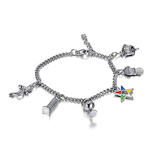 Art Art shop 316l Stainless Steel Silver Color OES Chain Bracelets Order of The Eastern Star Charms Beads Bracelets Ladies