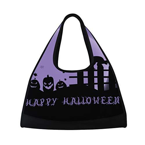 Gym Bag Happy Halloween Purple Night Women Yoga Canvas Duffel Bag Sports Tote Bags for Girls -