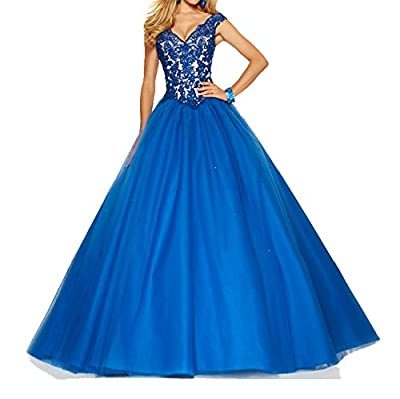 Meledy Women's V-Neck Lace Prom Dress Cap Straps Ball Gown Quinceanera Dress