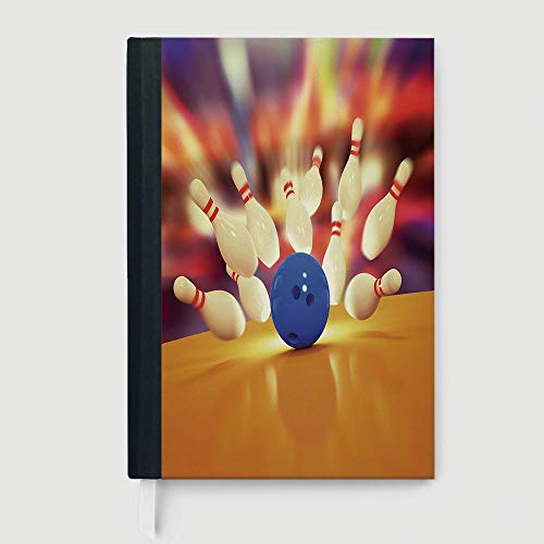 Bowling Party Decorations,Notepad Student Award Gift Decorative Notebooks,Spread Skittles Blue Ball on Wooden Floor Moment of Crash Print Decorative,96 sheets/192 pages,B5/7.99x10.02 in ()