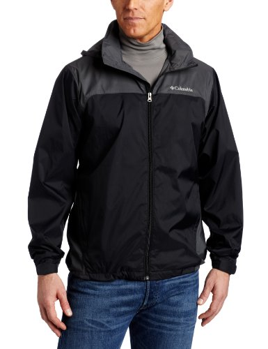 Columbia Men's Big & Tall Glennaker Lake Packable Rain Jacket,Black/Grill,2X/Tall -