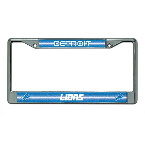 Rico Industries NFL Detroit Lions Bling Chrome License Plate Frame with Glitter Accent