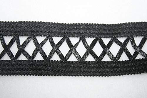 1 Yard Non Stretch Black Lattice Corset Satin Sewing Trim Costume 1.5'' -