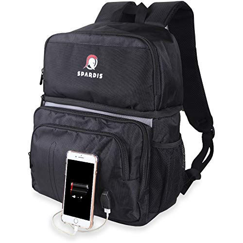 - Spardis Cooler Backpack – Insulated Waterproof Leak-Proof Bag for Hiking, Fishing, Work, Picnics, Sports – Lightweight Heavy Duty Soft Zipper Lunch Box with Storage, Bottle Opener, USB Charger
