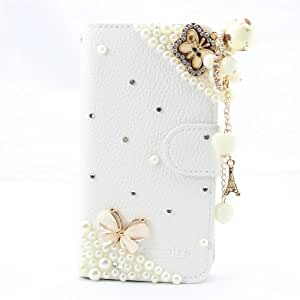 shining fashion 3d bling leather wallet card flip Case Cover Skin For KYOCERA HYDRO ICON C6730 C6530 butterfly chain
