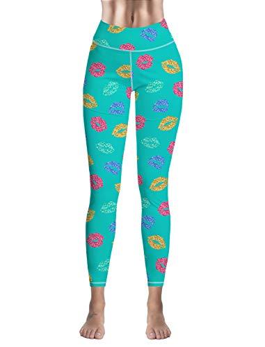 (Custom Women Leggings Capri 3D Print Sexy Lips High Waist Leggings for Sport Gym Fitness Yoga Pants)