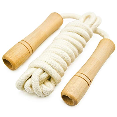 - Cotton Jump Rope for Kids - Wooden Handle - Adjustable Cotton Braided Fitness Skipping Rope - Outdoor Fun Activity, Great Party Favor, Exercise Activity