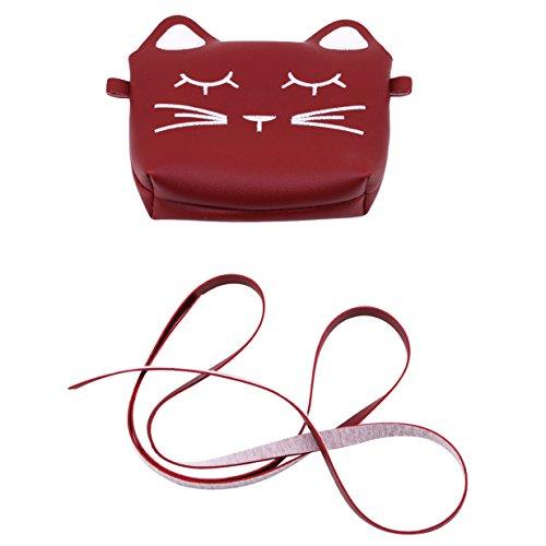 rouge monnaie à Sac Vin Téléphone mignon EJY Mini Chat bandoulière Porte p7xaqv