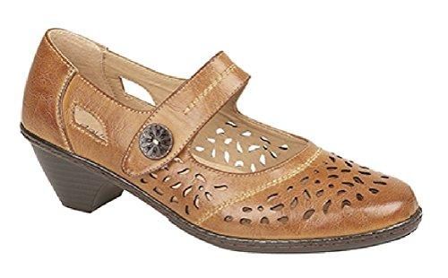 Giugno Chiaro Con Colore Chiusura Boulevard tenné sandali Da Donna Intagliato In Sbandato Velcro Marrone gndxRZw