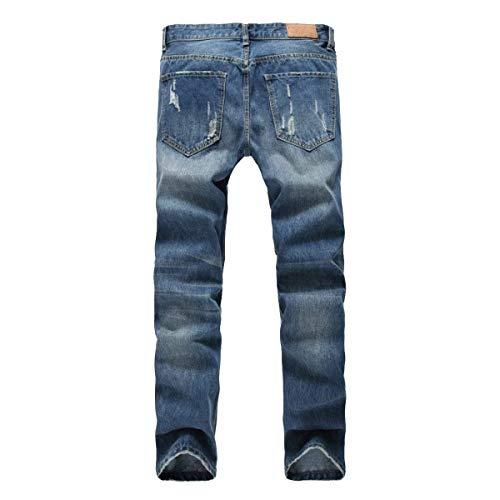 Fori In Pantaloni Dritti I Coste Cotone Stile A Tempo Da Il Libero Suoi Per Uomo Jeans Blu Semplice Dritto AxwPzqIv