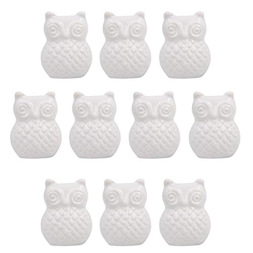 Ceramic Knobs, WOLFBUSH 10Pcs Owl Shape Ceramic Knobs Cartoon Animal Style Cabinet Pulls Decorative Cupboard Drawer Door Pull Handles with Screws(25MM) - White