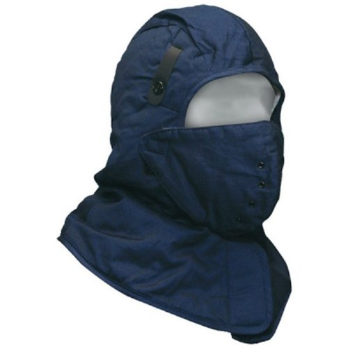 Bob Dale 90-0-420 Quilted Cotton Shoulder Length Hard Hat Liner with Facemask, Size 1, Navy Blue