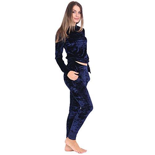 Janisramone Mujeres señoras Nuevo aplastado velour terciopelo Del basculador loungewear 2 pieza Jog conjunto coordenada chandal Armada