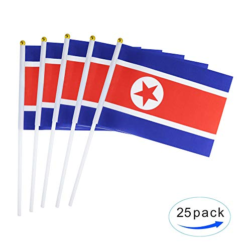 25 Pack Hand Held Small Mini Flag North Korea Flag North Korean Flag Stick Flag Round Top National Country Flags,Party Decorations Supplies For Parades,World Cup,Festival Events ,International Festiva