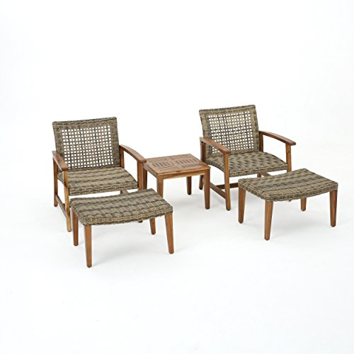 Savannah Outdoor Mid Century 5 Piece Grey Wicker Chat Set with Natural Stained Acacia Wood Frame price