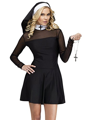 [Fun World Costumes Women's Sexy Sister Adult Costume, Black, Small/Medium] (Nun Habit Halloween Costume)