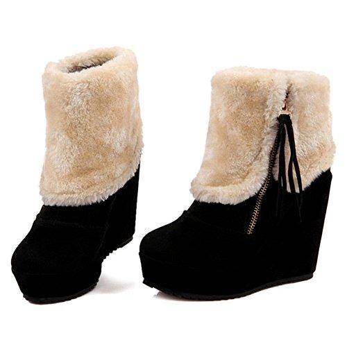 COOLCEPT Women Boots Zipper Collar Cuff Black 1baSpTIP