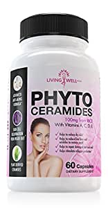 60 Phytoceramides Pills. Natural Anti Aging Healthy Skin Care Supplement with Vitamins A C D E. Promotes Hair, Skin & Cell Renewal. Plant-Derived Rice Based. Reduce Fine Lines, Wrinkles, Dry Skin
