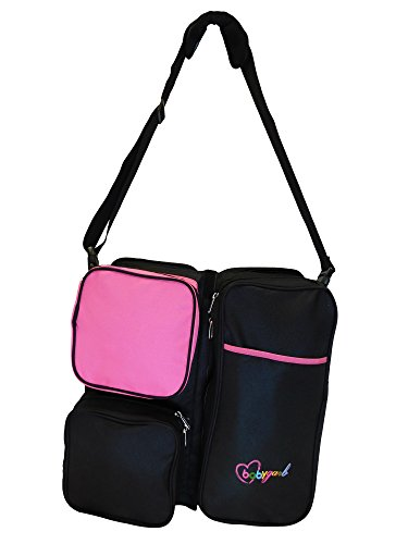 3 in 1 Baby Travel Bed + Diaper Bag + Change Station - Top Quality Tested Multi-purpose #1 Diaper Tote Bag Bed Nappy Infant Carrycot Crib Cot Nursery Portable Change Table Porta Crib (Pink & Black) by BabyGarb