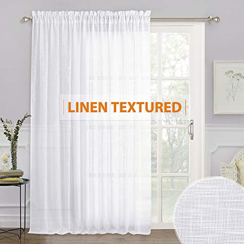 RYB HOME White Sheer Curtains - Linen Sheer Curtain Large Window Privacy Panel for Living Room Dining Bedroom Patio Sliding Glass Door Christmas Decor, 100 inches Wide x 84 inches Long, 1 Pc