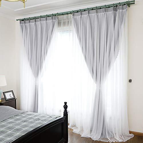 YQ WHJB Double Layer Curtains,Sheer Lace Blackout Curtains Set,Princess Mix Match Warm Hooks Darkening Window Drapes - 1 Panels-Gray W150xD270cm(W59xD106inch) (Elegant Ruffled Swag Curtain)