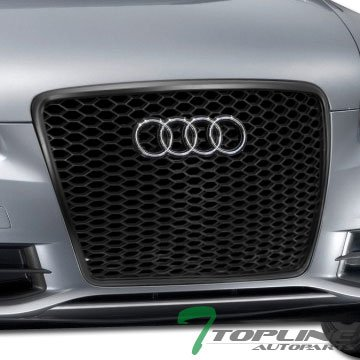 Topline Autopart Black RS RS-Sport Honeycomb Honey Mesh Bumper Grill Grille Logo Base 08-11 Audi A6 S6 C6