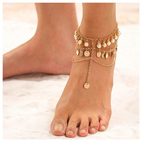 Aukmla Beaded Tassel Anklet Boho Summer Foot Chain Fashion Ankle Bracelet for Women Barefoot Sandal Beach Jewelry Adjustable (Gold)