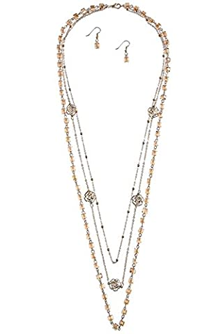 TRENDY FASHION JEWELRY FACETED BEAD ROSE CHARM MULTI STRAND NECKLACE SET BY FASHION DESTINATION | - Coral 3 Strand Necklace