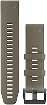 TALLA 22 mm. Garmin Quickfit Watch Band, Brazalete de Titanio Gris Carbono ventilado, Color Coyote Tan Silicona