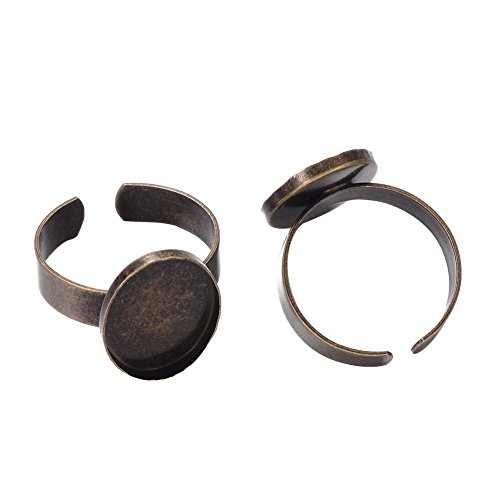 Pandahall 10pcs Antique Bronze Oval Adjustable Finger Pad Ring Blanks with 18x13mm Bezel Base Cabochon Tray Nickel Free