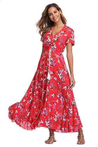 Ferrendo Summer Women's Floral Maxi Dress Button Up Split Flowy Bohemian Party Beach - Floral Cotton Print Dress