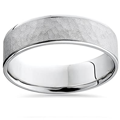 mens white gold hammered comfort fit wedding band ring - Mens White Gold Wedding Ring
