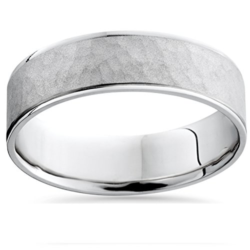 Pompeii3 Mens White Gold Hammered Comfort Fit Wedding Ban...