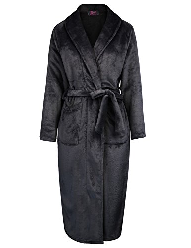 long black fleece dressing gown - 8