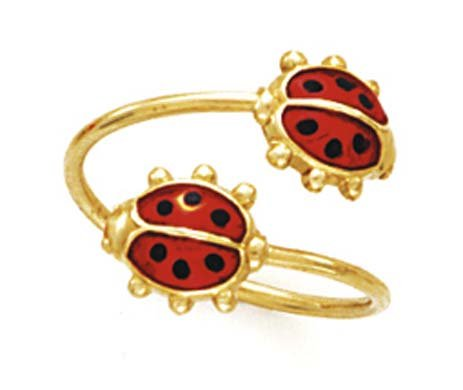 14k Yellow Gold Double Ladybug Toe Ring