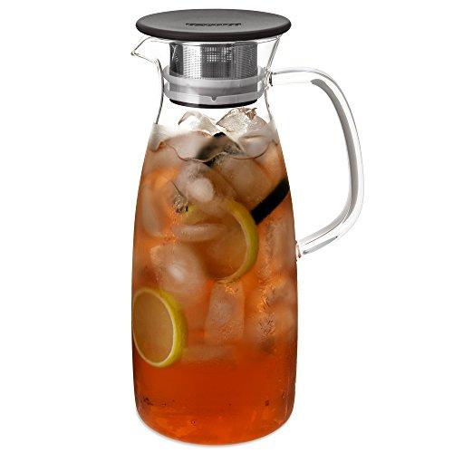 FORLIFE Mist Glass Ice Tea Jug, 50-Ounce, Black ()