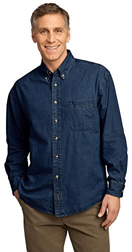 Port & Company Mens Long Sleeve Value Denim Shirt SP10 -Ink Blue XL (Cotton Shirt Value Denim)