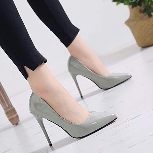 (Women's Spring Autumn Pumps High Heel Shoes Wedding Business Shoes Gray)