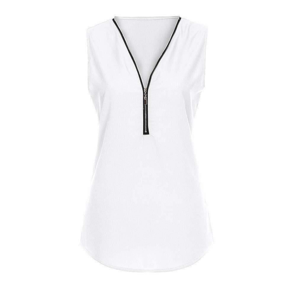 BOAHOKE 2019 New Women's Zipper Sleeveless Vest Top, Versatile, Daily Essentials(White,L)