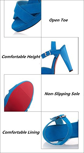 Blue High Flatform Summer Shoes PU Fashion Toe Leather Sexy Open Ladies Heels Lucksender 7w4qRgx