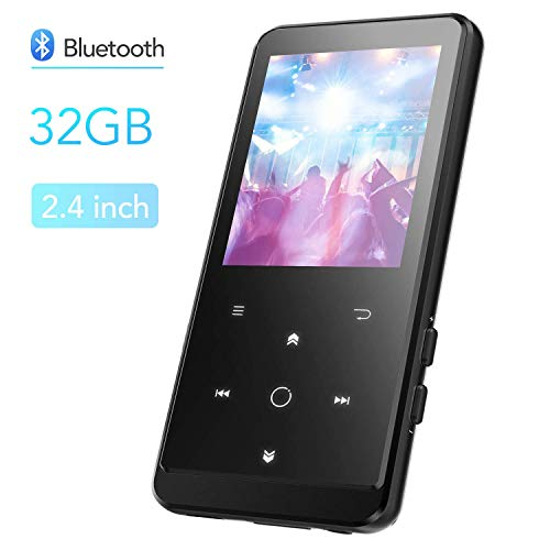 32GB MP3 Player with Bluetooth, AGPTEK Portable Music Player 2.4 Inch Large Screen, Support Bookmark, AirPods Connection, FM Radio, FM Recording, Expandable up to 128GB Antenna Included