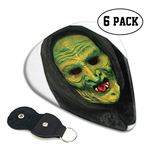 Nice Music Witch Mask Scary Halloween Vampire Skull Ultra Thin 0.46 Med 0.71 Thick 0.96mm 4 Pieces Each Base Prime Celluloid Ivory Jazz Mandolin Bass Ukelele Plectrum Guitar Pick Pouch Display ()