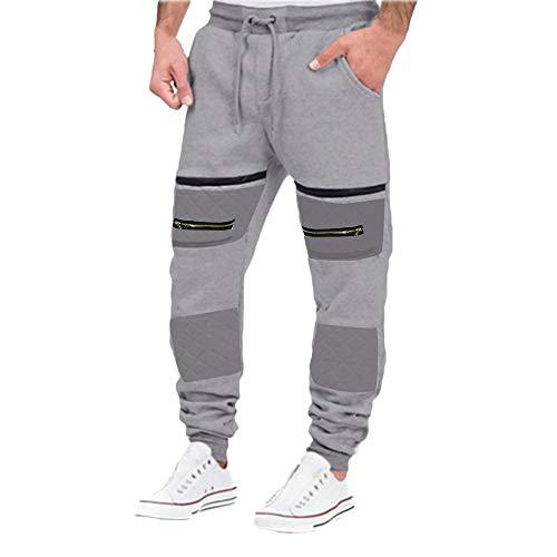 PASATO Clearace Sale! Mens Autumn Hip Hop Joggers Patchwork Casual Drawstring Sweatpants Trouser Pants(Gray, XXXL) by PASATO