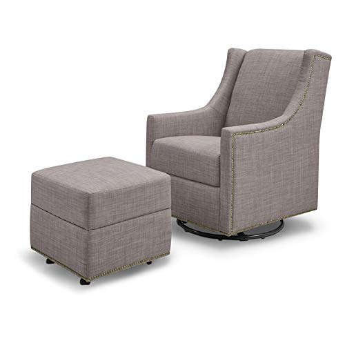 Million Dollar Baby Classic Harper Swivel Glider with Gliding Ottoman, Grey Tweed (Grey Harper)