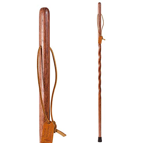 Brazos Trekking Pole Hiking Stick for Men and Women Handcrafted of Lightweight Wood and made in the USA, Red Oak, 58 Inches