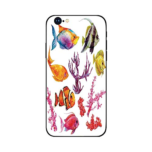 Phone Case Compatible with iphone6 Plus iphone6s Plus mobile phone protecting shell Brandnew Tempered Glass Backplane,Ocean Decor,Illustration of Tropical Fish Seaweed Coral Algae and Jellyfish Oceani