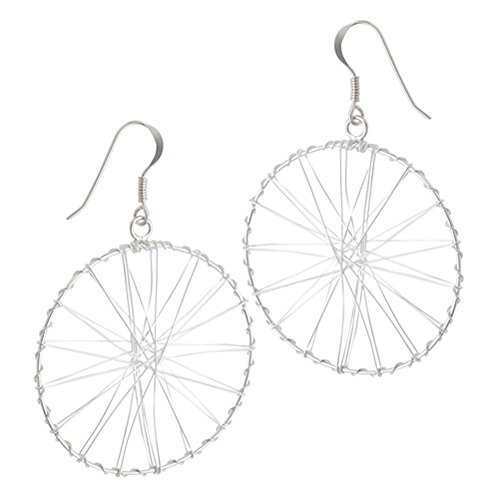 Silver Wrap Dangle Wire (Bicycle Tire Wire Wrap Circle .925 Sterling Silver Burst Unique Dangle Earrings)