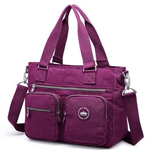 (Crest Design Water Repellent Nylon Shoulder Bag Handbag, 14 inch Laptop Bag Notebook Briefcase Travel Work Tote Bag (Violet Red))